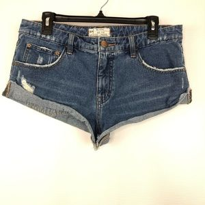 FP Free People Roll up Jean Shorts distressed 27